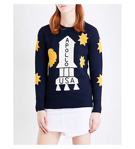 COACH Space wool jumper (Navy