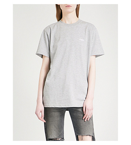 032C Crystal-embellished cotton-jersey T-shirt (Grey+heather