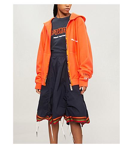 HERON PRESTON Logo-embroidered cotton-jersey hoody (Orange
