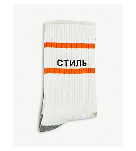 HERON PRESTON Colourblock cotton-blend socks (Black+-man