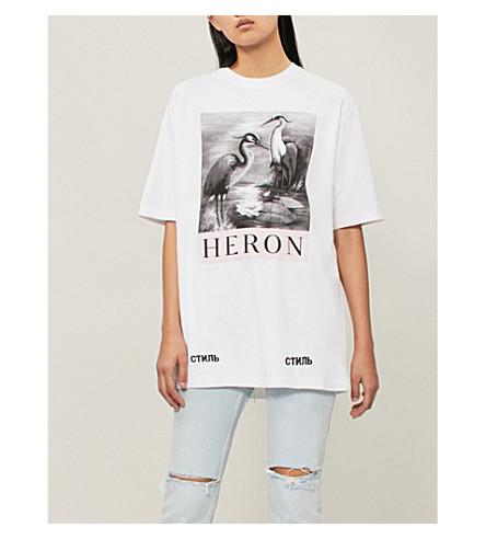 HERON PRESTON Heron-print cotton-jersey T-shirt (White