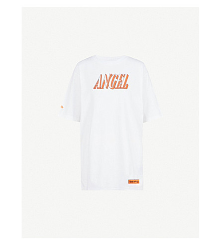 HERON PRESTON Angel-print cotton-jersey t-shirt (White/orange