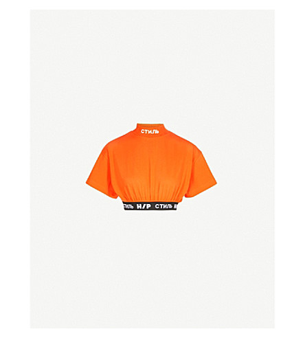 HERON PRESTON Jersone jersey cropped top (W/band+orange+white