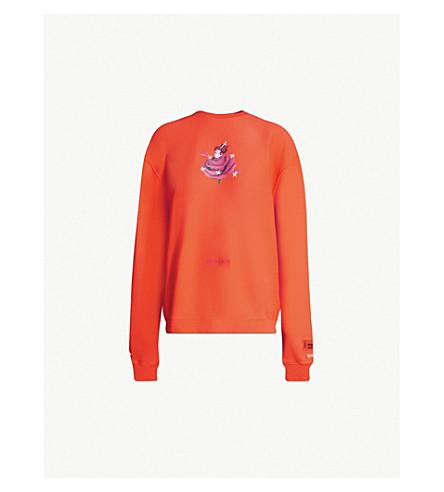 HERON PRESTON Serving Looks embroidered cotton-jersey sweatshirt (Orange