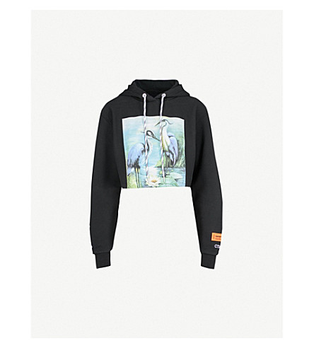 HERON PRESTON Herons cropped cotton-jersey hoody (Black/mult