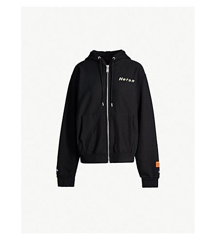 HERON PRESTON Heron-print cotton-jersey hoody (Black