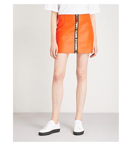 HERON PRESTON Panelled leather skirt (Orange/black
