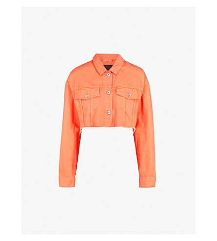 HERON PRESTON Cropped denim jacket (Orange/black