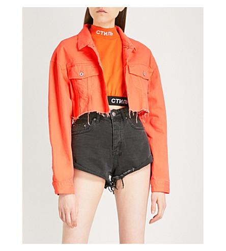 HERON PRESTON Cropped denim jacket (Orange/black