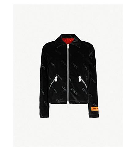 HERON PRESTON Dragon-embroidered velvet jacket (Black red