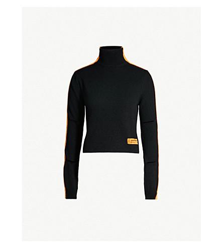 HERON PRESTON Side-stripe knitted turtleneck jumper (Black