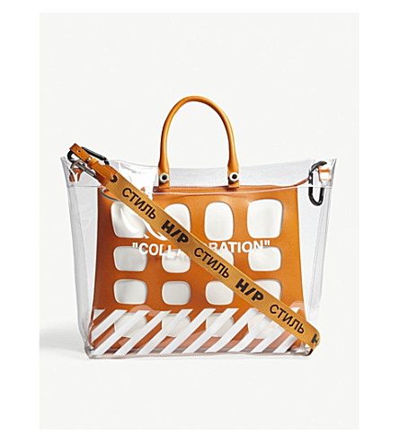 HERON PRESTON Off White collaboration medium tote bag (Transparent