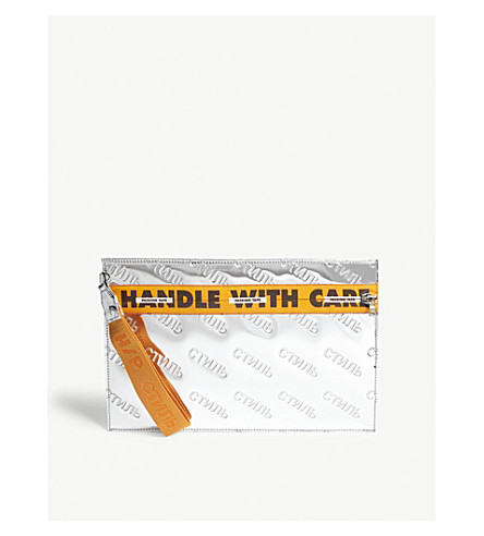 HERON PRESTON CTNMB mirror zipped pouch (Silver/orange
