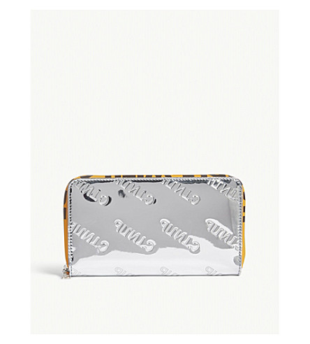 HERON PRESTON Metallic logo zip-around wallet (Silver/orange