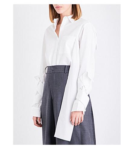 MOOHONG Twisted strap-sleeve cotton shirt (White