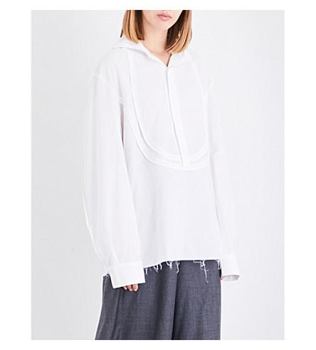 MOOHONG Raw-hem cotton-poplin hoody (White