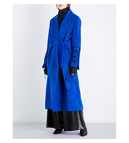 NOHKE Single-breasted lace-up wool-blend coat (Blue
