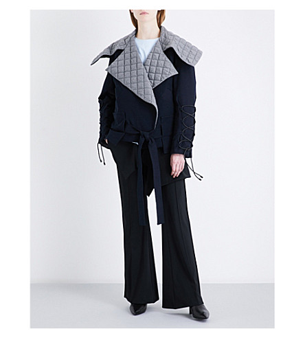 NOHKE Oversized quilted woven jacket (Navy