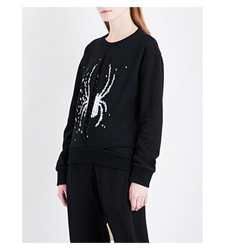 D.GNAK Spider-embroidered cotton-jersey sweatshirt (Black