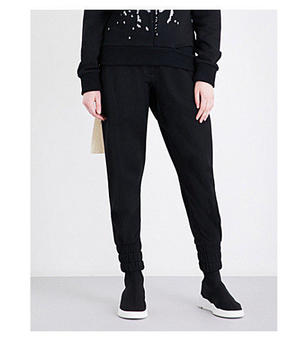D.GNAK Text-panel skinny mid-rise cotton-jersey jogging bottoms (Black