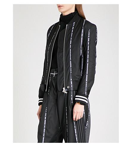 MUNN Striped-detail worsted wool bomber jacket (Black