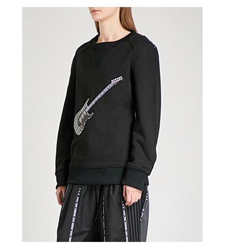 MUNN Guitar-appliqué cotton-jersey sweatshirt (Black