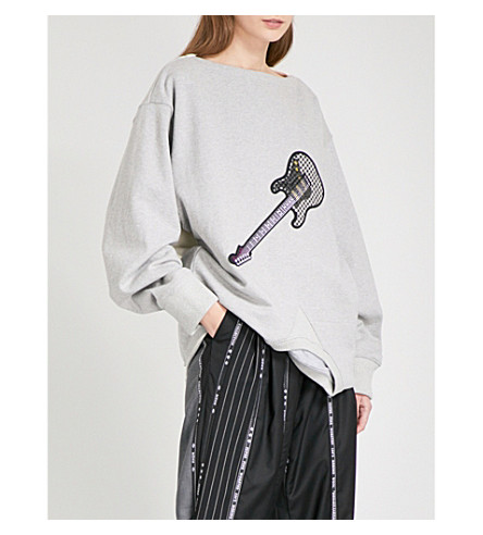 MUNN Upside-down cotton-jersey sweatshirt (Grey