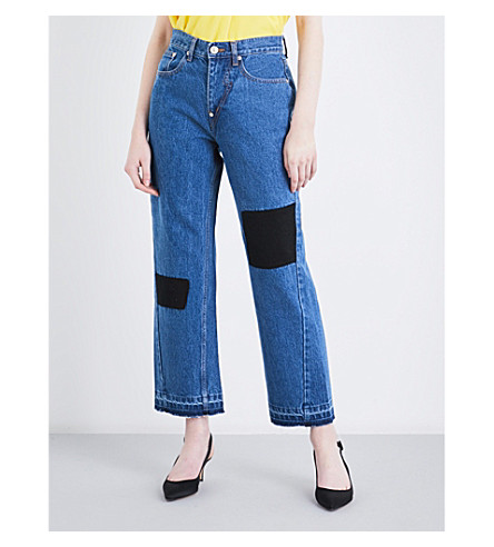 PUSH-BUTTON Patchwork straight high-rise denim and wool jeans (Blue