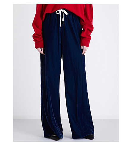 PUSH-BUTTON Wide high-rise velvet trousers (Blue