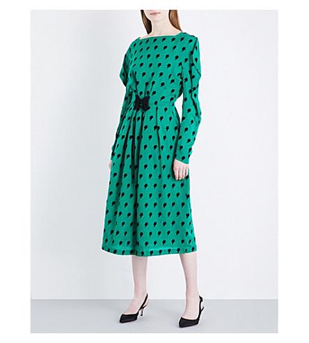 PUSH-BUTTON Ziggy flocked silk dress (Green