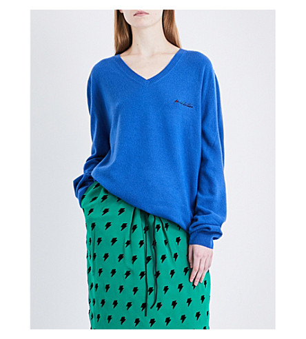 PUSH-BUTTON V-neck wool and cashmere-blend jumper (Blue