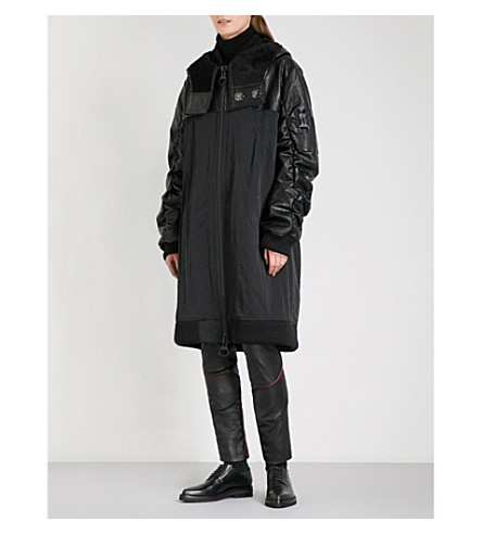 RESURRECTION Patch-detail faux-leather and shell bomber coat (Black