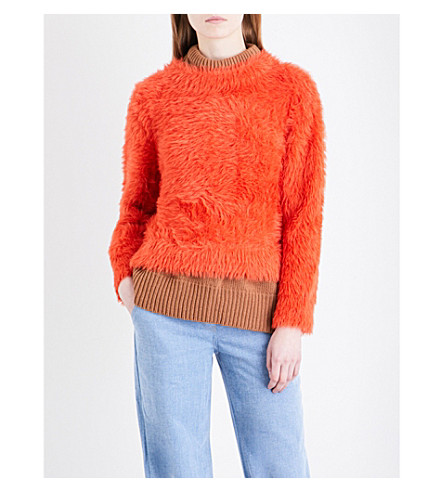ROCKET X LUNCH Layered faux-angora jumper (Orange/camel