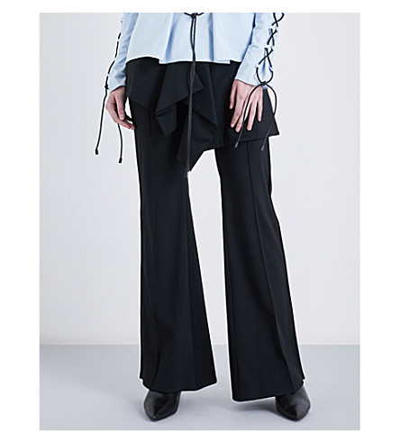 NOHKE Layered-panel high-rise flared stretch trousers (Black