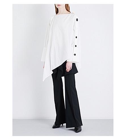 NOHKE Asymmetric cotton-blend shirt (White