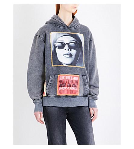 THEFAN Blitz Aallyah cotton-jersey hoody (Charcoal