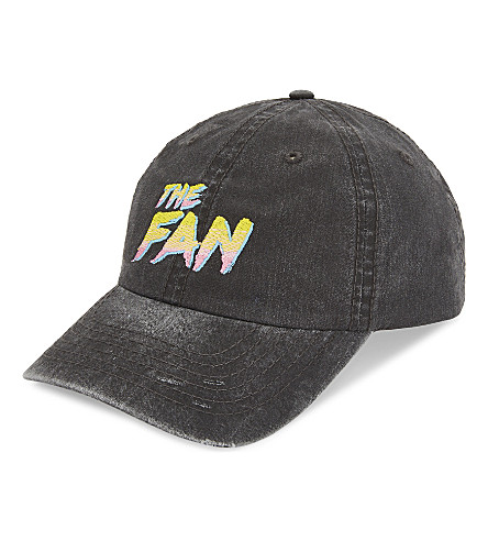 THEFAN Embroidered logo baseball cap (Charcoal/pink