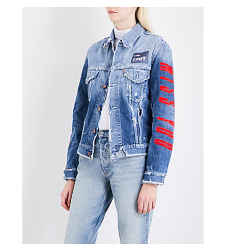 THEFAN Power distressed denim jacket (Blue+stone+washed