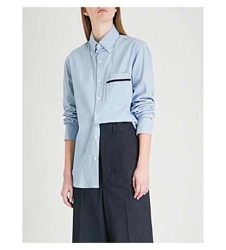 BLOUSE Novus cotton-poplin shirt (Pale+blue