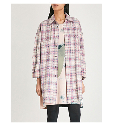 FAITH CONNEXION Sequin-embellished checked cotton-blend shirt (Multi