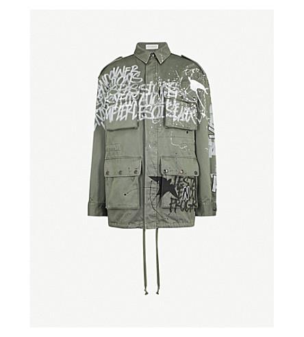 FAITH CONNEXION Graffiti-print cotton-canvas parka jacket (Army+khaki