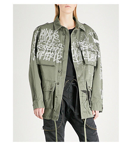 FAITH CONNEXION Graffiti-print cotton-canvas parka jacket (Army+khaki