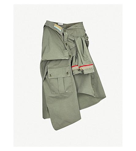 FAITH CONNEXION Asymmetric cotton-twill shirt skirt (Army+khaki