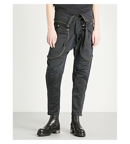 FAITH CONNEXION Tapered cropped cotton-canvas cargo trousers (Black