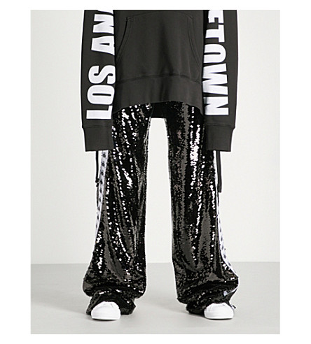 FAITH CONNEXION Faith Connexion x Kappa sequinned jogging bottoms (Black