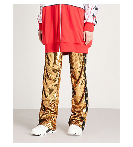 FAITH CONNEXION x Kappa sequinned jogging bottoms (Gold