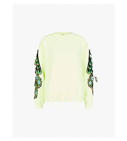 RAGYARD Peacock-embroidered cotton-jersey sweatshirt (Lime