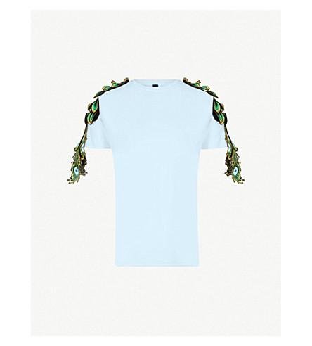RAGYARD Peacock appliqué cotton T-shirt (Blue