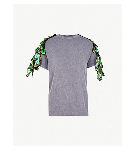 RAGYARD Peacock appliqué cotton T-shirt (Grey