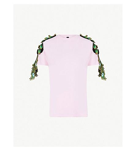 RAGYARD Peacock appliqué cotton T-shirt (Pink